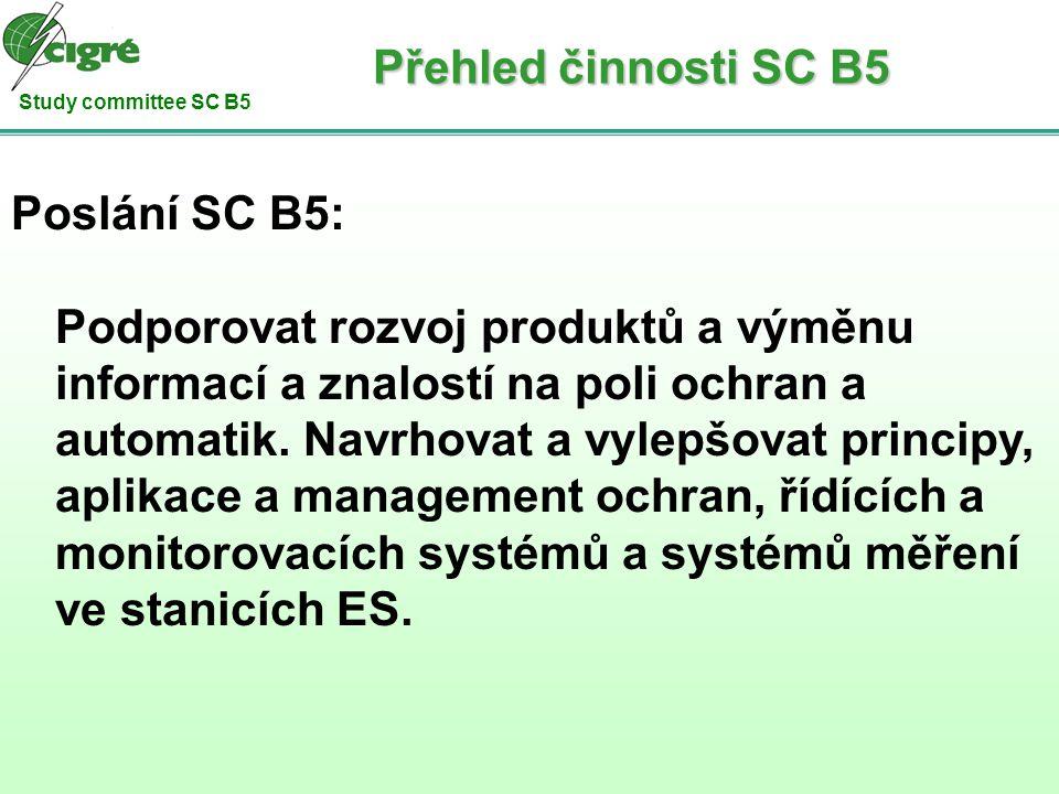 Study committee SC B5 Z jednání schůze SC B5: Preferenční témata: PS1: dopady IEC61850 na chránění a automatiky ve stanicích spolehlivost systémů architektura systémů dosavadní zkušenosti PS2: řízení životního cyklu ochran a řídících systémů politika testování testování ochran a automatik procedury, nástroje a zkušenosti v Life cycle managmentu systémy pro dálkovou údržbu Přehled činnosti SC B5