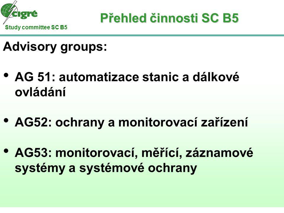 Study committee SC B5 Advisory groups: AG 51: automatizace stanic a dálkové ovládání AG52: ochrany a monitorovací zařízení AG53: monitorovací, měřící,