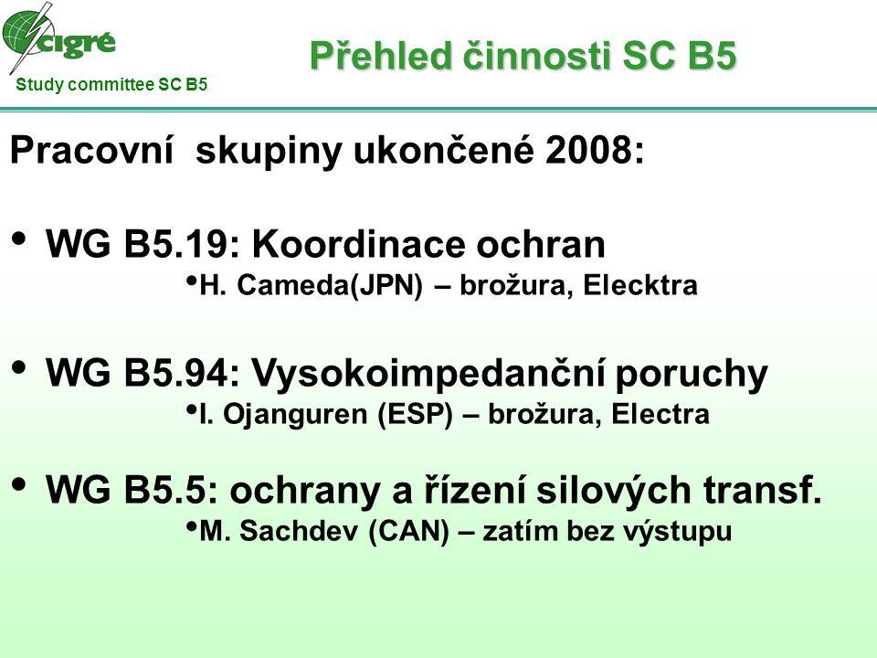 Study committee SC B5 Pracovní skupiny ukončené 2008: WG B5.19: Koordinace ochran H. Cameda(JPN) – brožura, Elecktra WG B5.94: Vysokoimpedanční poruch