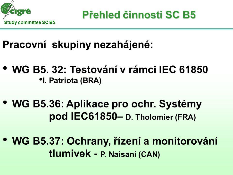 Study committee SC B5 Pracovní skupiny nezahájené: WG B5. 32: Testování v rámci IEC 61850 I. Patriota (BRA) WG B5.36: Aplikace pro ochr. Systémy pod I