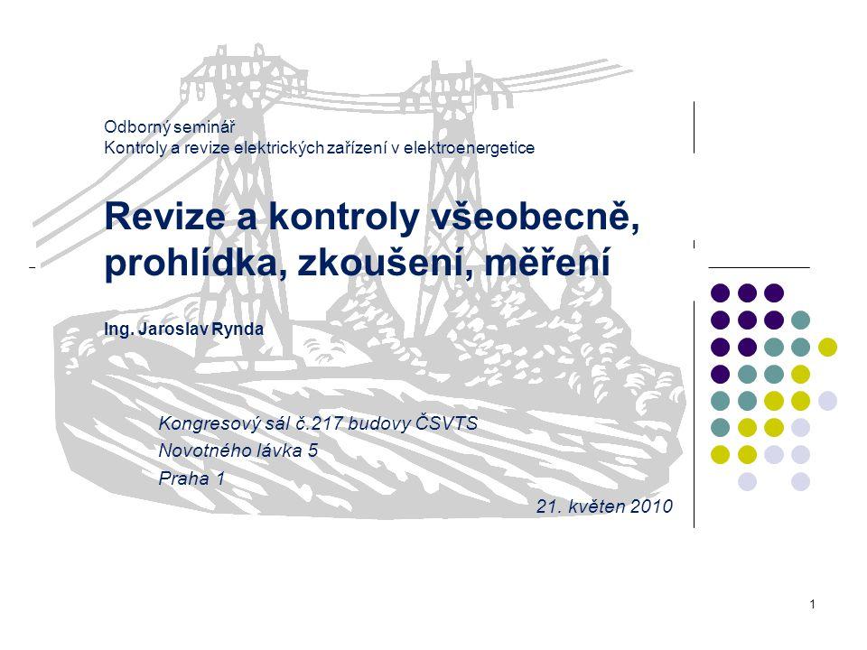 Odborný seminář Kontroly a revize elektrických zařízení v elektroenergetice Revize a kontroly všeobecně, prohlídka, zkoušení, měření Ing. Jaroslav Ryn