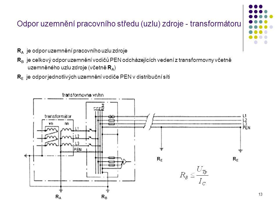 13 Odpor uzemnění pracovního středu (uzlu) zdroje - transformátoru R A je odpor uzemnění pracovního uzlu zdroje R B je celkový odpor uzemnění vodičů P