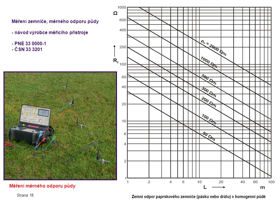 Měření zemniče, měrného odporu půdy - návod výrobce měřícího přístroje - PNE 33 0000-1 - ČSN 33 3201 Strana 18 Měření měrného odporu půdy