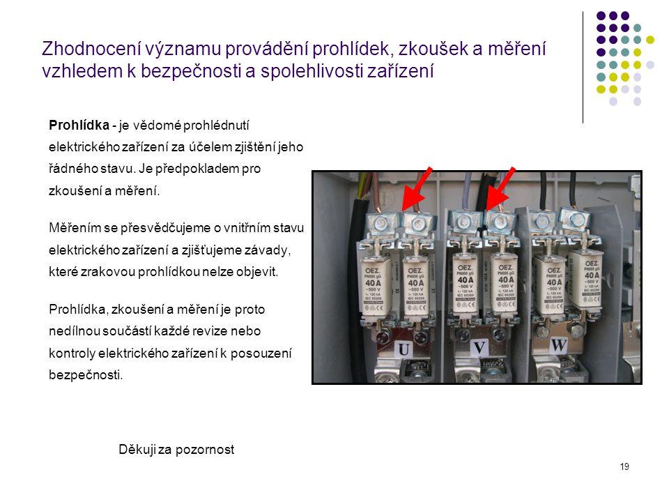 19 Prohlídka - je vědomé prohlédnutí elektrického zařízení za účelem zjištění jeho řádného stavu. Je předpokladem pro zkoušení a měření. Měřením se př