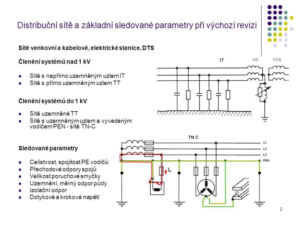 13 Odpor uzemnění pracovního středu (uzlu) zdroje - transformátoru R A je odpor uzemnění pracovního uzlu zdroje R B je celkový odpor uzemnění vodičů PEN odcházejících vedení z transformovny včetně uzemněného uzlu zdroje (včetně R A ) R E je odpor jednotlivých uzemnění vodiče PEN v distribuční síti RERE RERE RBRB RARA