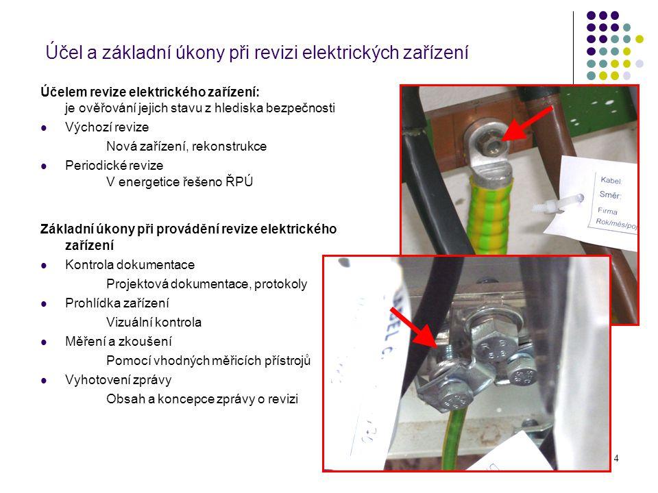 4 Účel a základní úkony při revizi elektrických zařízení Účelem revize elektrického zařízení: je ověřování jejich stavu z hlediska bezpečnosti Výchozí