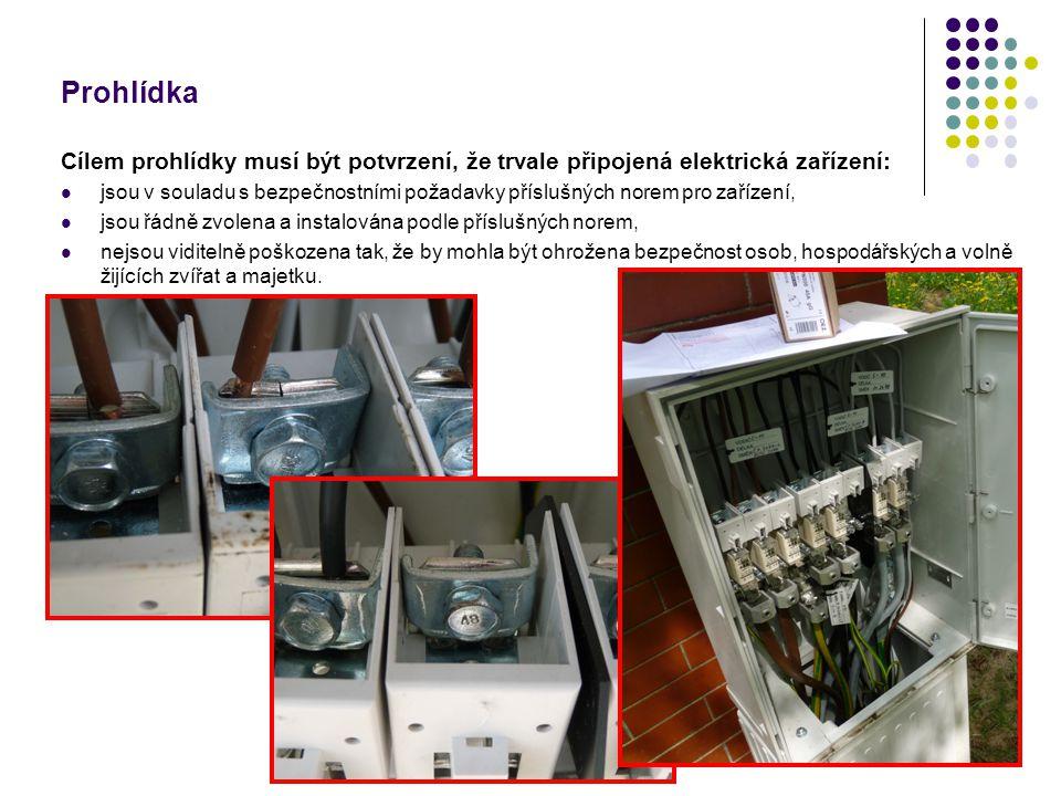 Prohlídka Cílem prohlídky musí být potvrzení, že trvale připojená elektrická zařízení: jsou v souladu s bezpečnostními požadavky příslušných norem pro