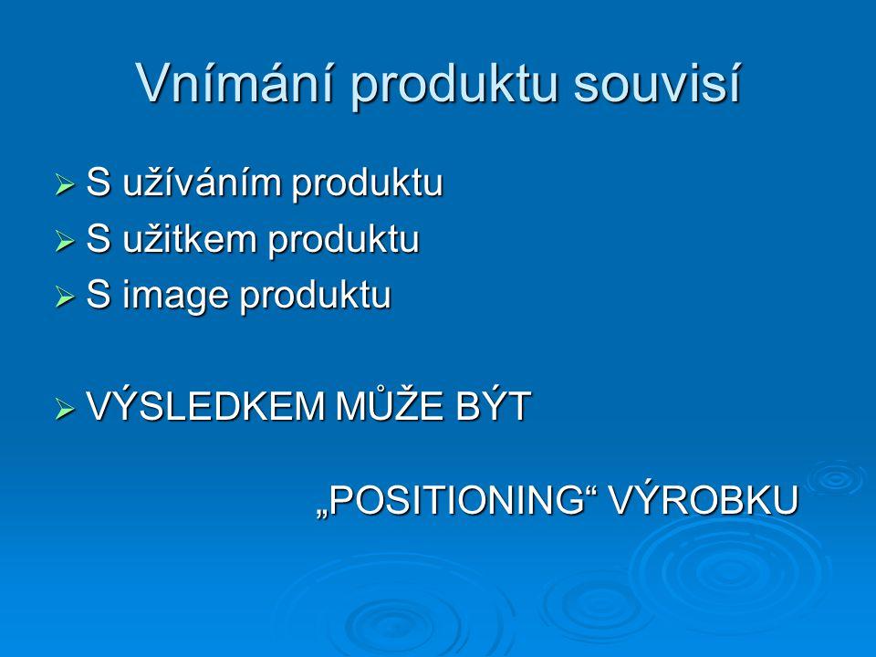 """Vnímání produktu souvisí  S užíváním produktu  S užitkem produktu  S image produktu  VÝSLEDKEM MŮŽE BÝT """"POSITIONING VÝROBKU"""