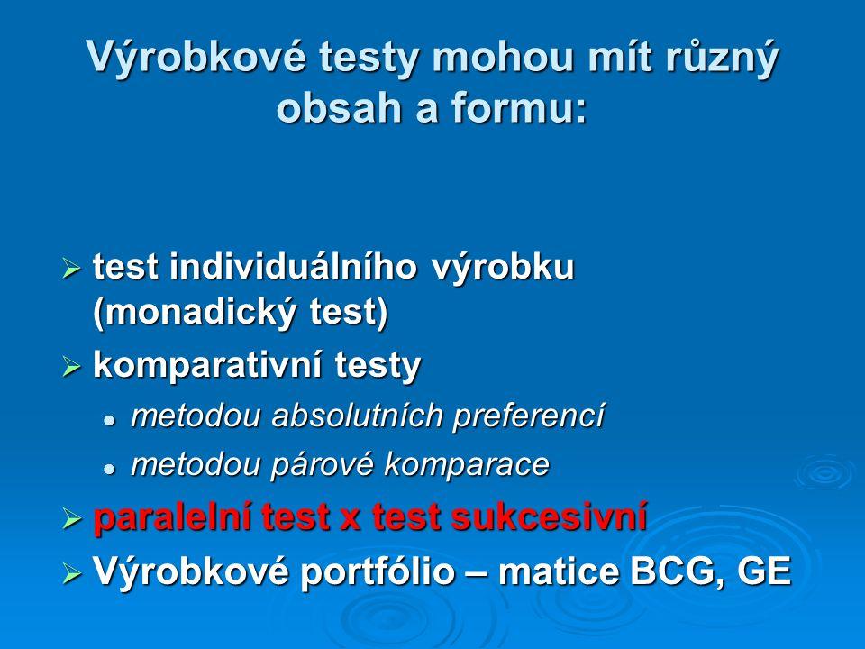 Výrobkové testy mohou mít různý obsah a formu:  test individuálního výrobku (monadický test)  komparativní testy metodou absolutních preferencí metodou absolutních preferencí metodou párové komparace metodou párové komparace  paralelní test x test sukcesivní  Výrobkové portfólio – matice BCG, GE