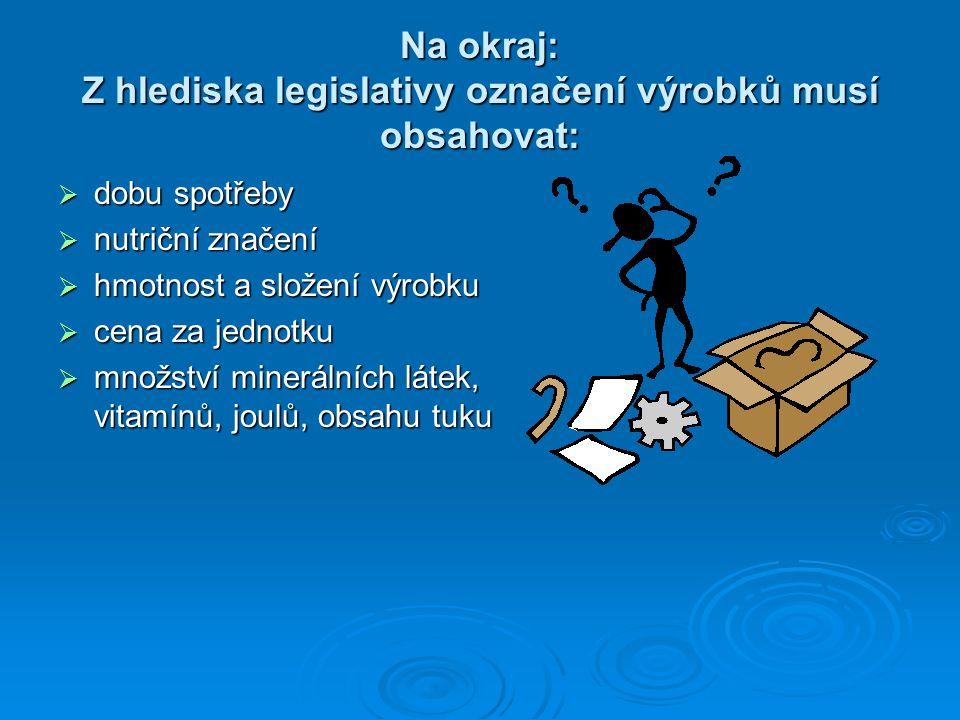 Na okraj: Z hlediska legislativy označení výrobků musí obsahovat:  dobu spotřeby  nutriční značení  hmotnost a složení výrobku  cena za jednotku  množství minerálních látek, vitamínů, joulů, obsahu tuku