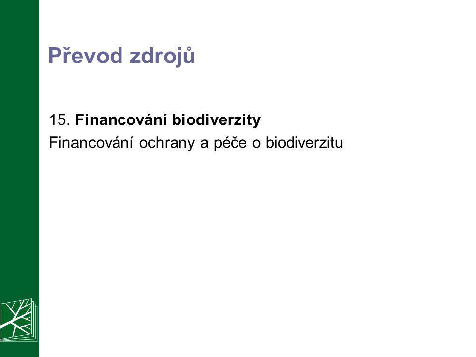 Převod zdrojů 15. Financování biodiverzity Financování ochrany a péče o biodiverzitu