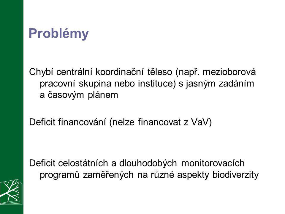 Problémy Chybí centrální koordinační těleso (např. mezioborová pracovní skupina nebo instituce) s jasným zadáním a časovým plánem Deficit financování