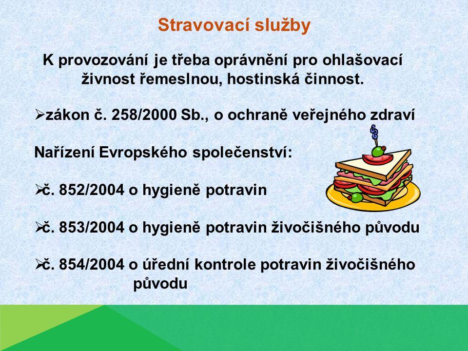 Stravovací služby  zákon č.