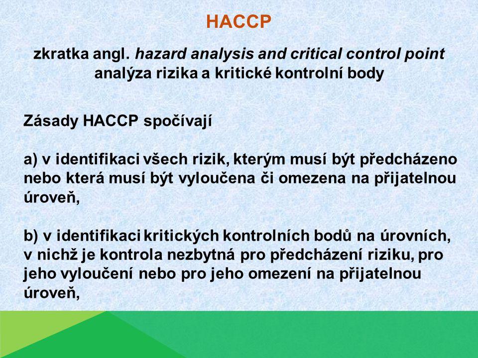 HACCP Zásady HACCP spočívají a) v identifikaci všech rizik, kterým musí být předcházeno nebo která musí být vyloučena či omezena na přijatelnou úroveň, b) v identifikaci kritických kontrolních bodů na úrovních, v nichž je kontrola nezbytná pro předcházení riziku, pro jeho vyloučení nebo pro jeho omezení na přijatelnou úroveň, zkratka angl.
