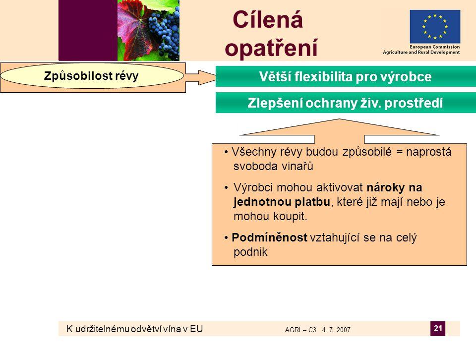 K udržitelnému odvětví vína v EU AGRI – C3 4. 7. 2007 21 Cílená opatření Způsobilost révy Zlepšení ochrany živ. prostředí Větší flexibilita pro výrobc