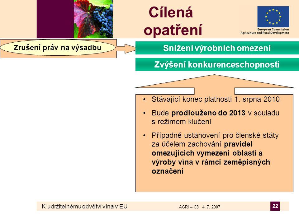 K udržitelnému odvětví vína v EU AGRI – C3 4. 7. 2007 22 Cílená opatření Zrušení práv na výsadbu Zvýšení konkurenceschopnosti Snížení výrobních omezen
