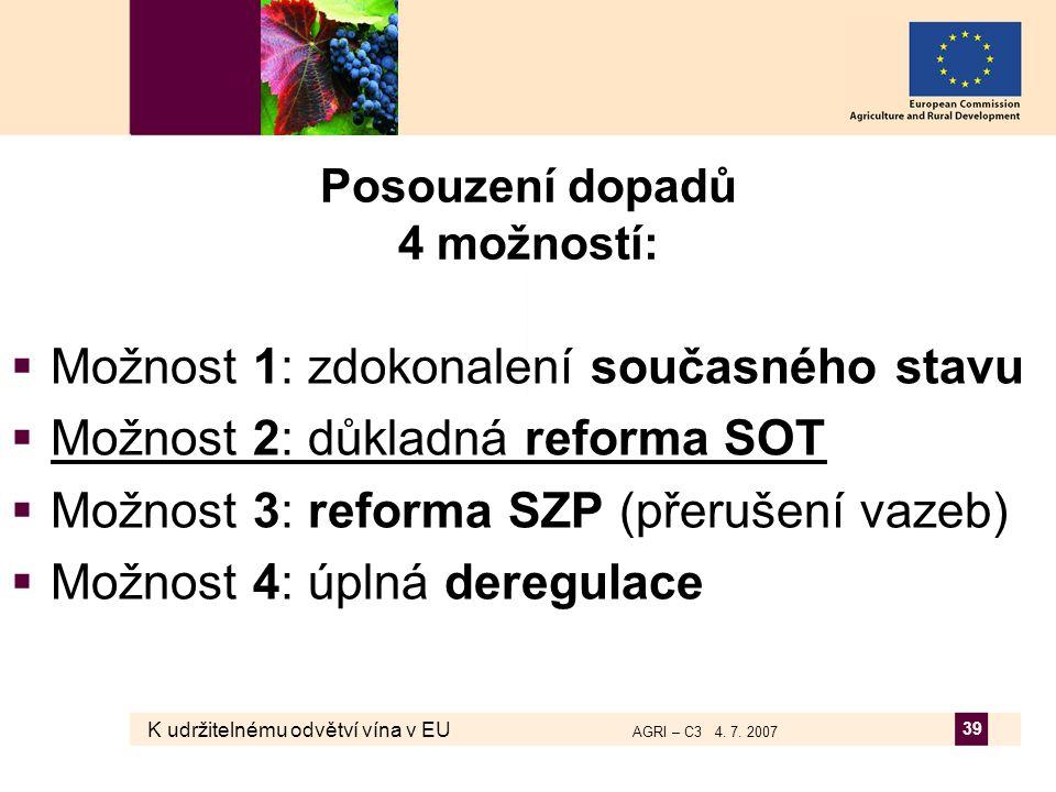 K udržitelnému odvětví vína v EU AGRI – C3 4. 7. 2007 39 Posouzení dopadů 4 možností:  Možnost 1: zdokonalení současného stavu  Možnost 2: důkladná