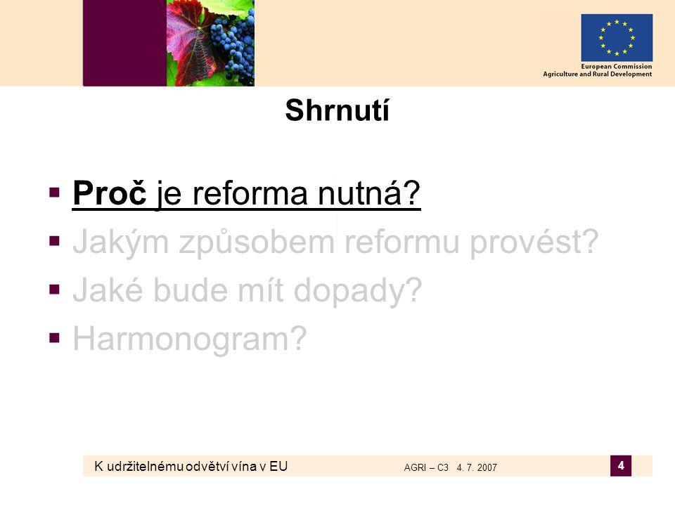 K udržitelnému odvětví vína v EU AGRI – C3 4. 7. 2007 4 Shrnutí  Proč je reforma nutná?  Jakým způsobem reformu provést?  Jaké bude mít dopady?  H