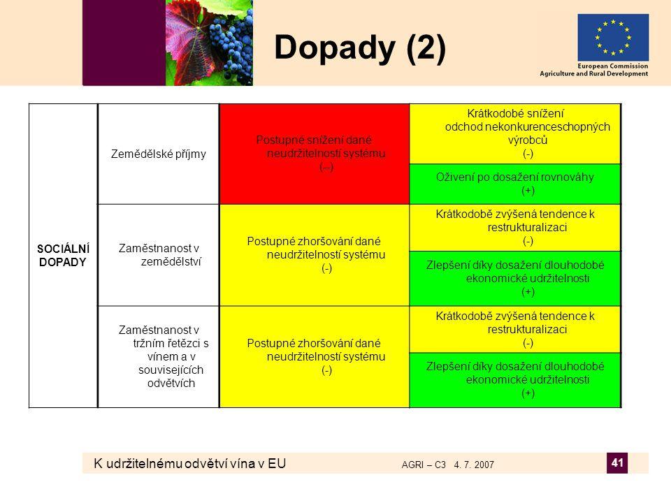 K udržitelnému odvětví vína v EU AGRI – C3 4. 7. 2007 41 Dopady (2) SOCIÁLNÍ DOPADY Zemědělské příjmy Postupné snížení dané neudržitelností systému (-