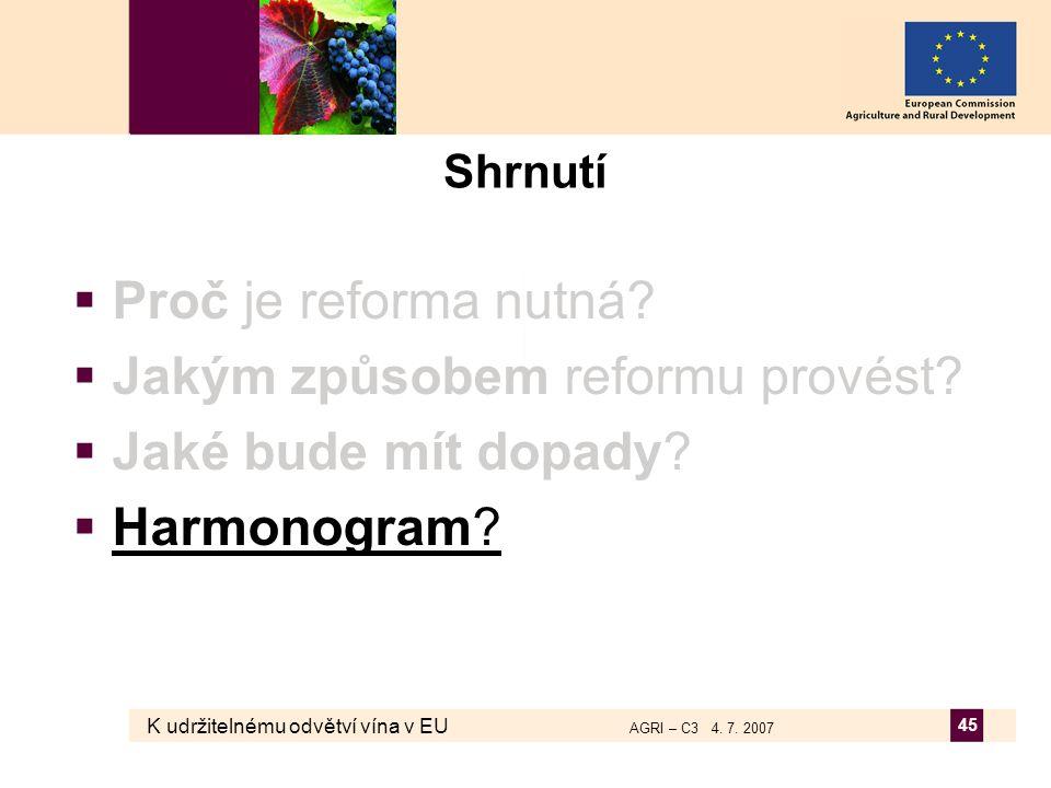K udržitelnému odvětví vína v EU AGRI – C3 4. 7. 2007 45 Shrnutí  Proč je reforma nutná?  Jakým způsobem reformu provést?  Jaké bude mít dopady? 