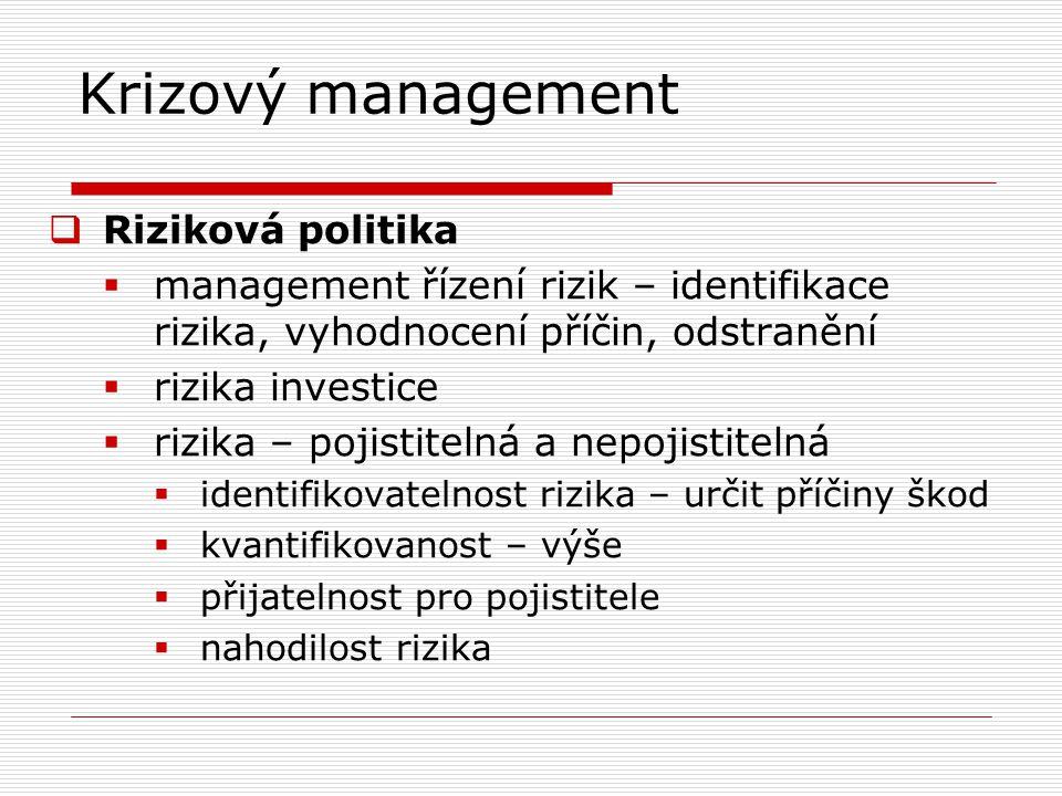 Krizový management  Riziková politika  management řízení rizik – identifikace rizika, vyhodnocení příčin, odstranění  rizika investice  rizika – p