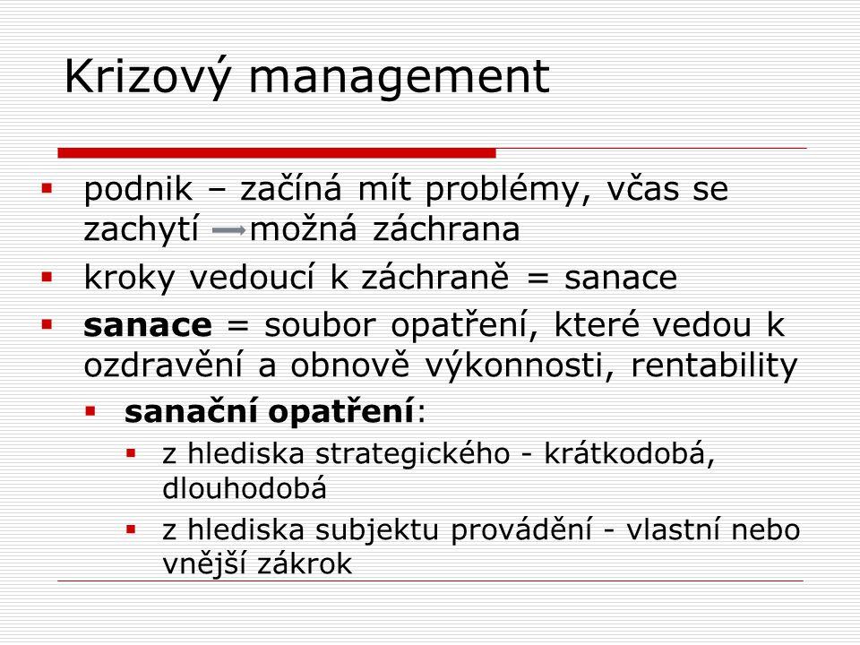 Krizový management  podnik – začíná mít problémy, včas se zachytí možná záchrana  kroky vedoucí k záchraně = sanace  sanace = soubor opatření, kter