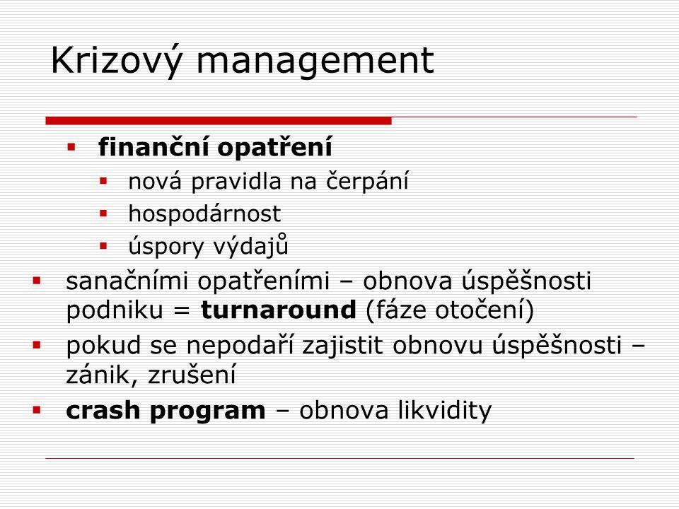 Krizový management  finanční opatření  nová pravidla na čerpání  hospodárnost  úspory výdajů  sanačními opatřeními – obnova úspěšnosti podniku =