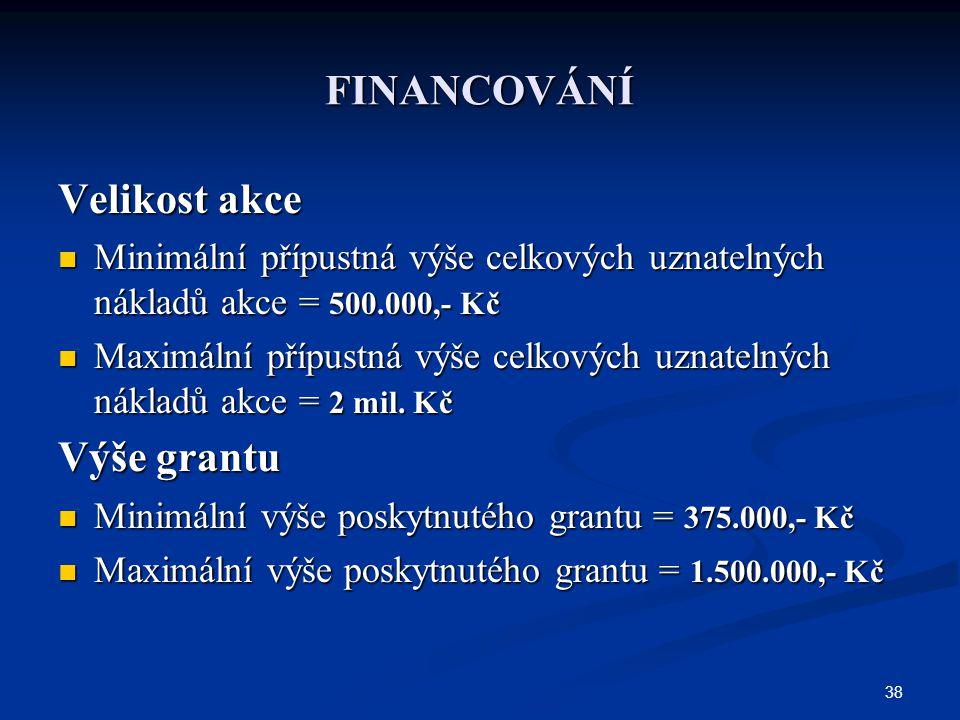 38 FINANCOVÁNÍ Velikost akce Minimální přípustná výše celkových uznatelných nákladů akce = 500.000,- Kč Minimální přípustná výše celkových uznatelných nákladů akce = 500.000,- Kč Maximální přípustná výše celkových uznatelných nákladů akce = 2 mil.