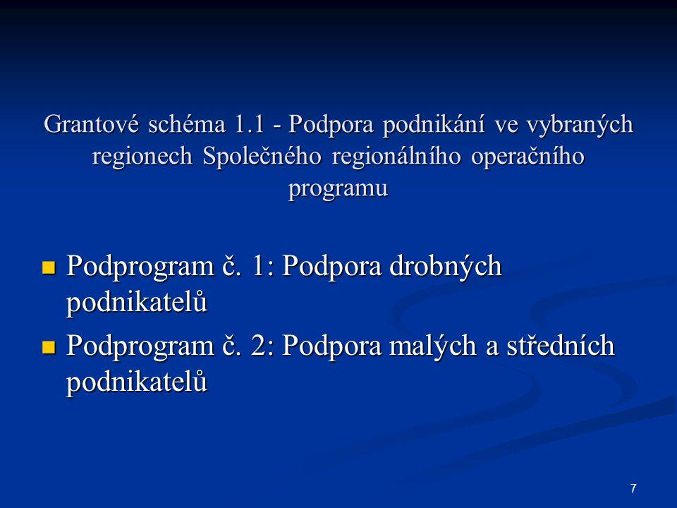 7 Grantové schéma 1.1 - Podpora podnikání ve vybraných regionech Společného regionálního operačního programu Podprogram č.