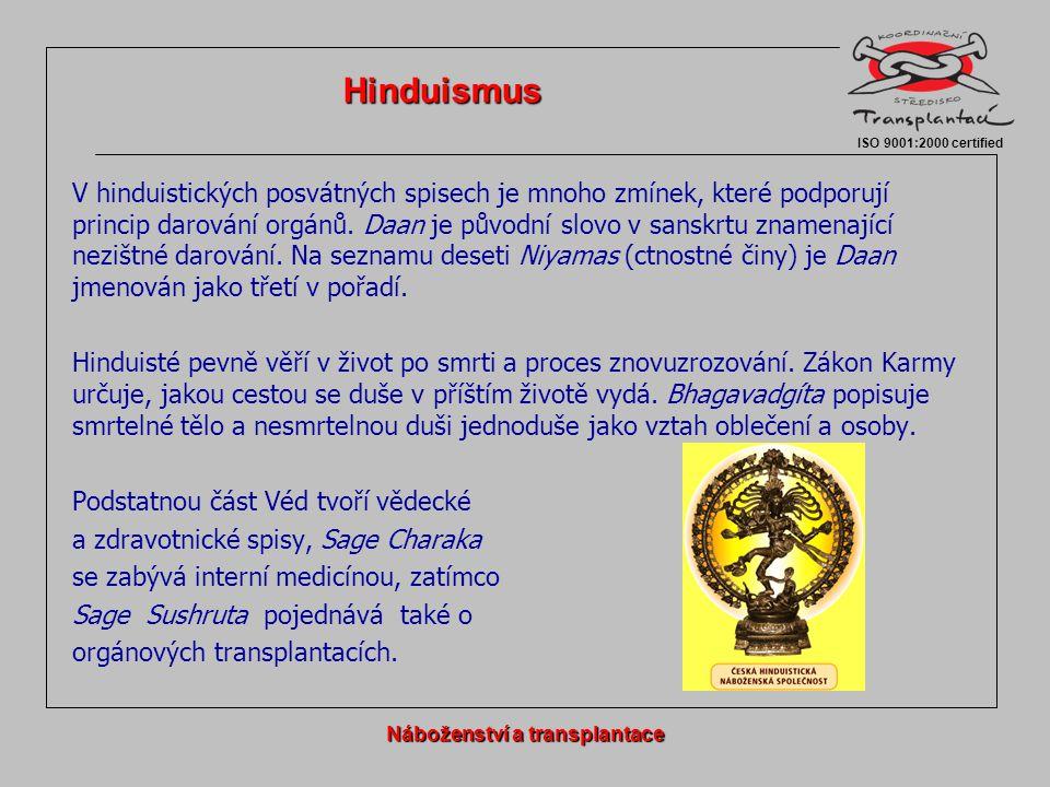 V hinduistických posvátných spisech je mnoho zmínek, které podporují princip darování orgánů. Daan je původní slovo v sanskrtu znamenající nezištné da