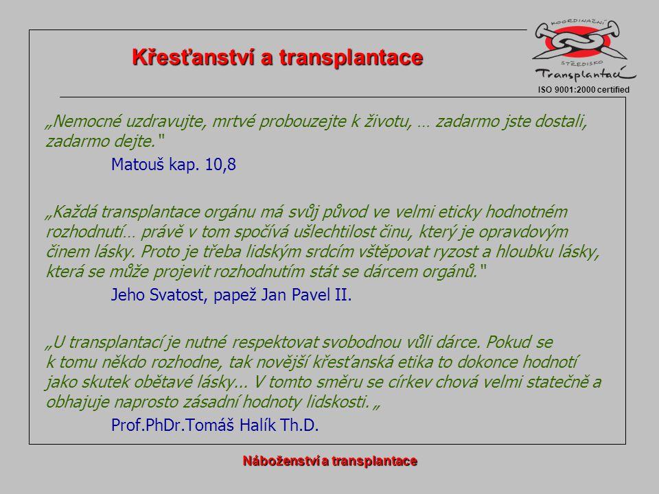  Všechny náboženské směry a proudy, které jsou v ČR zastoupeny alespoň v řádu 0,01‰, darování orgánů a transplantace schvalují a podporují.