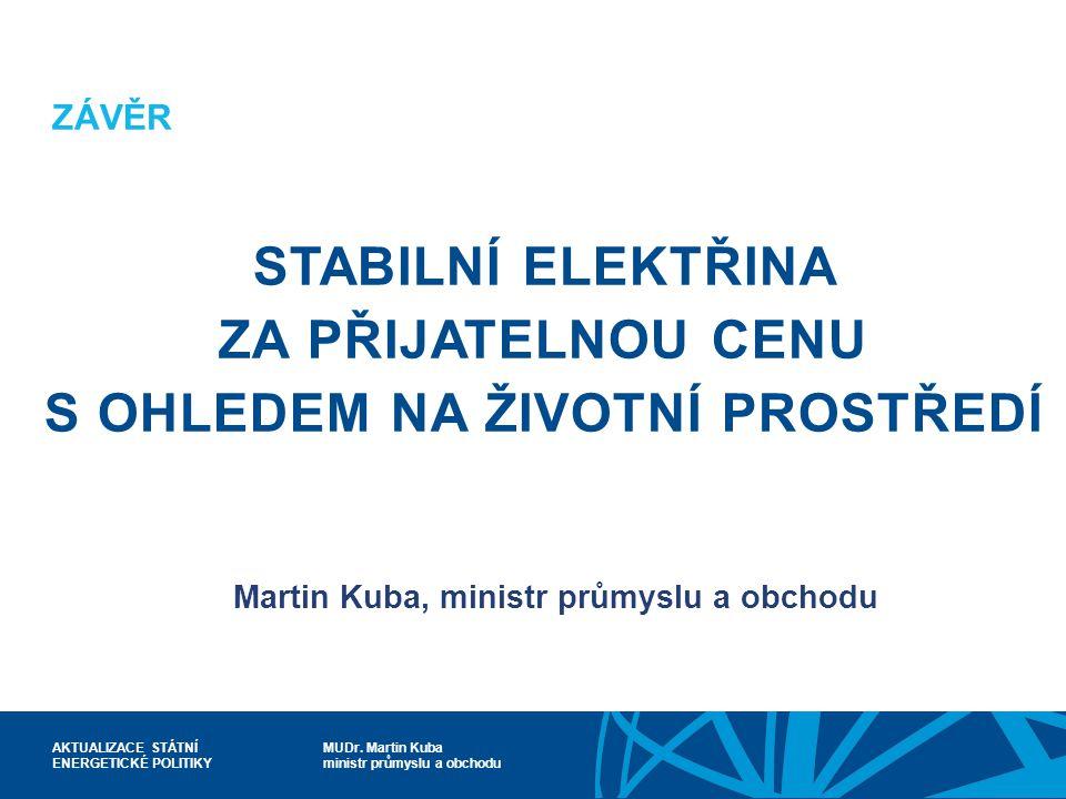 MUDr. Martin Kuba ministr průmyslu a obchodu AKTUALIZACE STÁTNÍ ENERGETICKÉ POLITIKY ZÁVĚR STABILNÍ ELEKTŘINA ZA PŘIJATELNOU CENU S OHLEDEM NA ŽIVOTNÍ