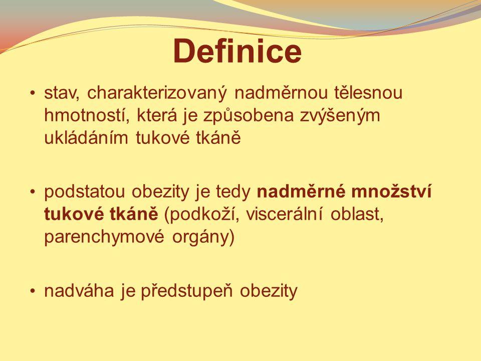 Definice stav, charakterizovaný nadměrnou tělesnou hmotností, která je způsobena zvýšeným ukládáním tukové tkáně podstatou obezity je tedy nadměrné mn