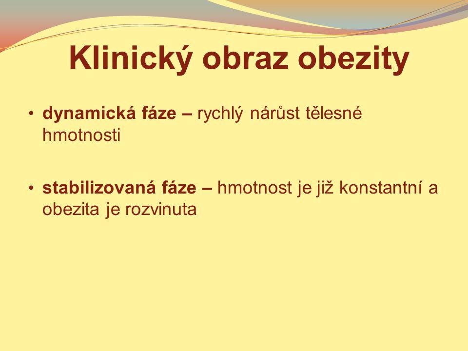 Klasifikace obezity podle fáze obezity – stabilní, nestabilní podle příčiny obezity – primární, sekundární kvantitativní klasifikace – podle hmotnosti (BMI), podle množství tuku v těle kvalitativní klasifikace – podle distribuce tuku v těle