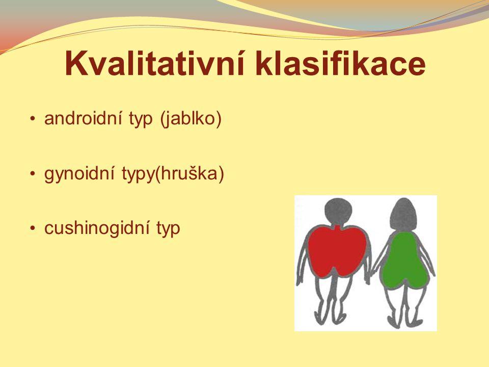 Kvalitativní klasifikace androidní typ (jablko) gynoidní typy(hruška) cushinogidní typ