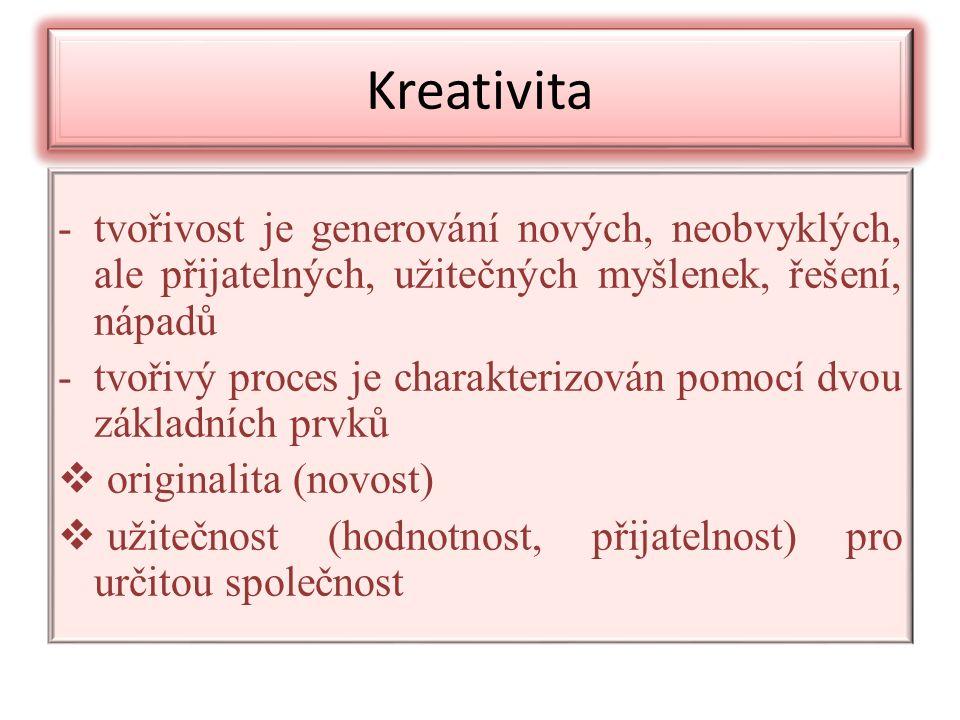 Kreativita -tvořivost je generování nových, neobvyklých, ale přijatelných, užitečných myšlenek, řešení, nápadů -tvořivý proces je charakterizován pomocí dvou základních prvků  originalita (novost)  užitečnost (hodnotnost, přijatelnost) pro určitou společnost