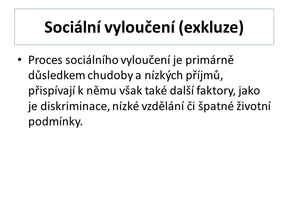 Sociální vyloučení (exkluze) Proces sociálního vyloučení je primárně důsledkem chudoby a nízkých příjmů, přispívají k němu však také další faktory, jako je diskriminace, nízké vzdělání či špatné životní podmínky.