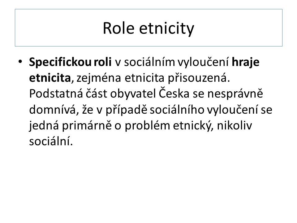 Role etnicity Specifickou roli v sociálním vyloučení hraje etnicita, zejména etnicita přisouzená.