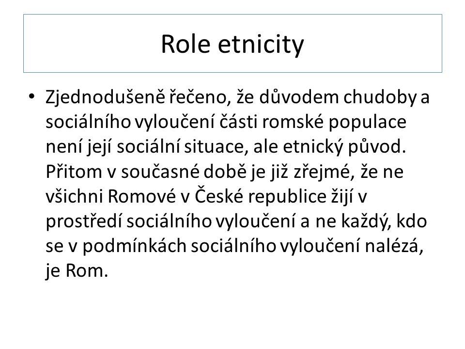 Role etnicity Zjednodušeně řečeno, že důvodem chudoby a sociálního vyloučení části romské populace není její sociální situace, ale etnický původ.