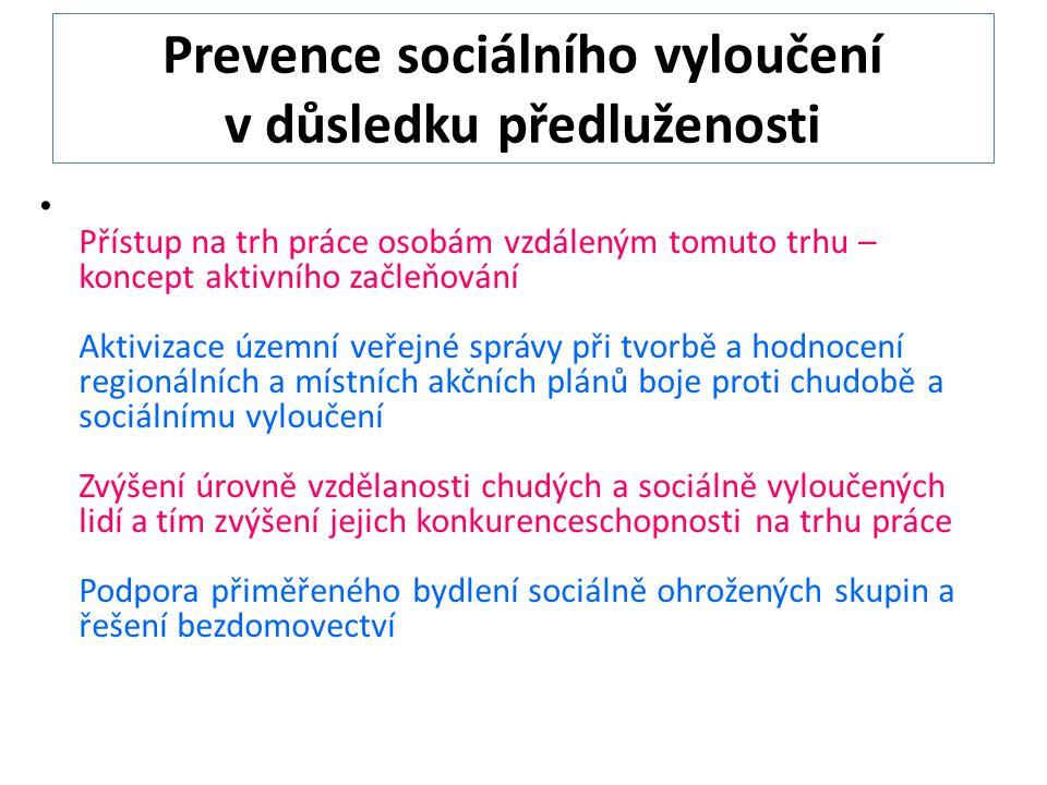 Prevence sociálního vyloučení v důsledku předluženosti Přístup na trh práce osobám vzdáleným tomuto trhu – koncept aktivního začleňování Aktivizace územní veřejné správy při tvorbě a hodnocení regionálních a místních akčních plánů boje proti chudobě a sociálnímu vyloučení Zvýšení úrovně vzdělanosti chudých a sociálně vyloučených lidí a tím zvýšení jejich konkurenceschopnosti na trhu práce Podpora přiměřeného bydlení sociálně ohrožených skupin a řešení bezdomovectví