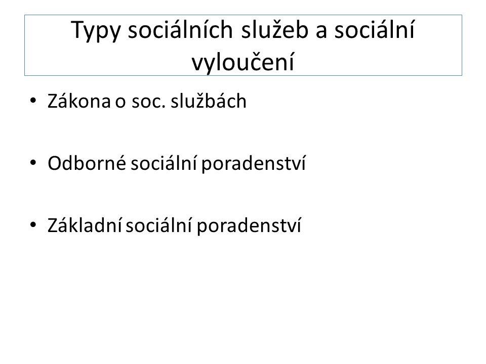 Typy sociálních služeb a sociální vyloučení Zákona o soc.