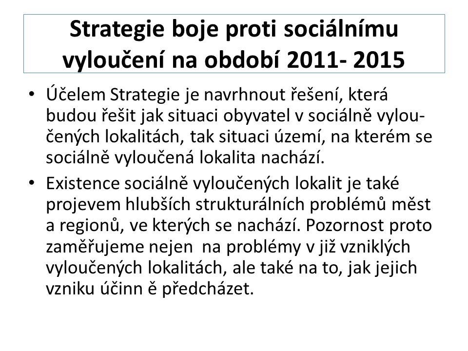 Strategie boje proti sociálnímu vyloučení na období 2011- 2015 Účelem Strategie je navrhnout řešení, která budou řešit jak situaci obyvatel v sociálně vylou- čených lokalitách, tak situaci území, na kterém se sociálně vyloučená lokalita nachází.