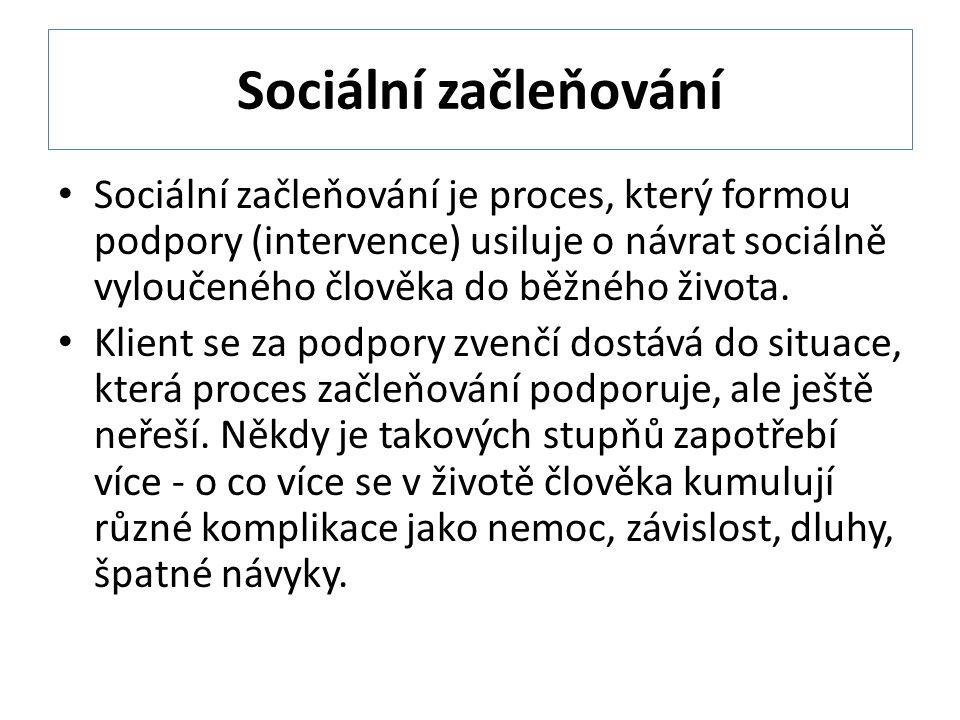 Sociální začleňování Sociální začleňování je proces, který formou podpory (intervence) usiluje o návrat sociálně vyloučeného člověka do běžného života.