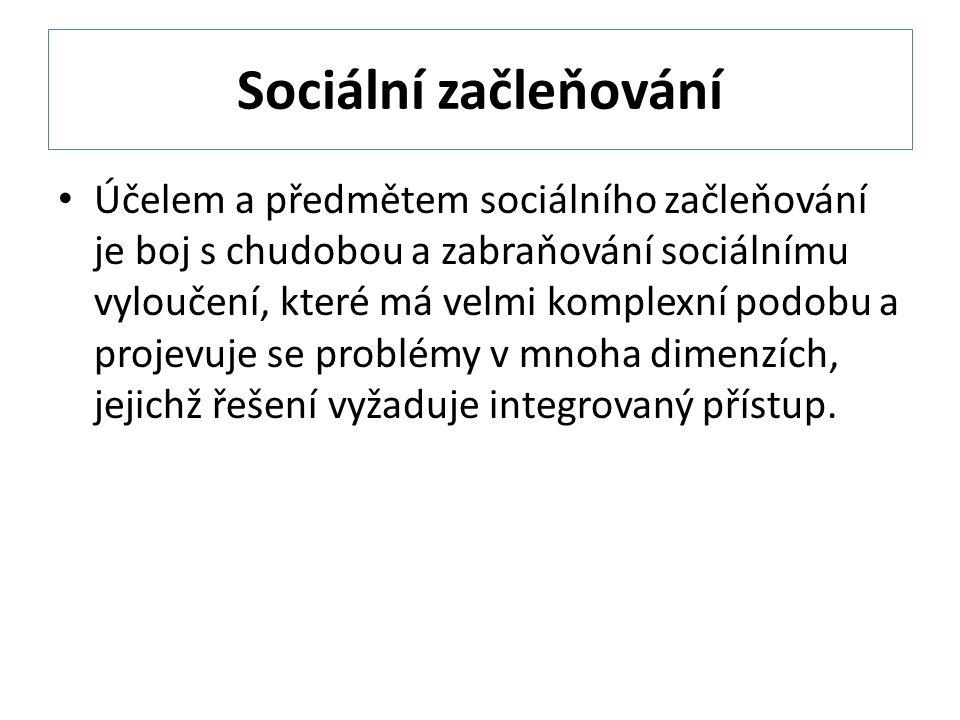 Sociální začleňování Účelem a předmětem sociálního začleňování je boj s chudobou a zabraňování sociálnímu vyloučení, které má velmi komplexní podobu a projevuje se problémy v mnoha dimenzích, jejichž řešení vyžaduje integrovaný přístup.