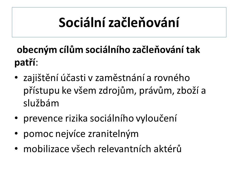 Sociální začleňování obecným cílům sociálního začleňování tak patří: zajištění účasti v zaměstnání a rovného přístupu ke všem zdrojům, právům, zboží a službám prevence rizika sociálního vyloučení pomoc nejvíce zranitelným mobilizace všech relevantních aktérů