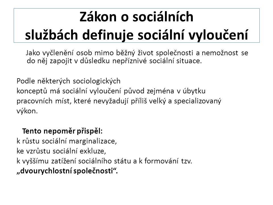 Zákon o sociálních službách definuje sociální vyloučení Jako vyčlenění osob mimo běžný život společnosti a nemožnost se do něj zapojit v důsledku nepříznivé sociální situace.