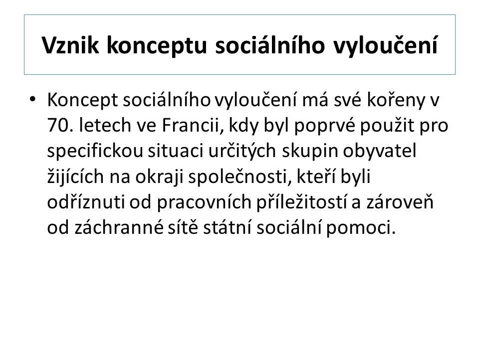 Vznik konceptu sociálního vyloučení Koncept sociálního vyloučení má své kořeny v 70.