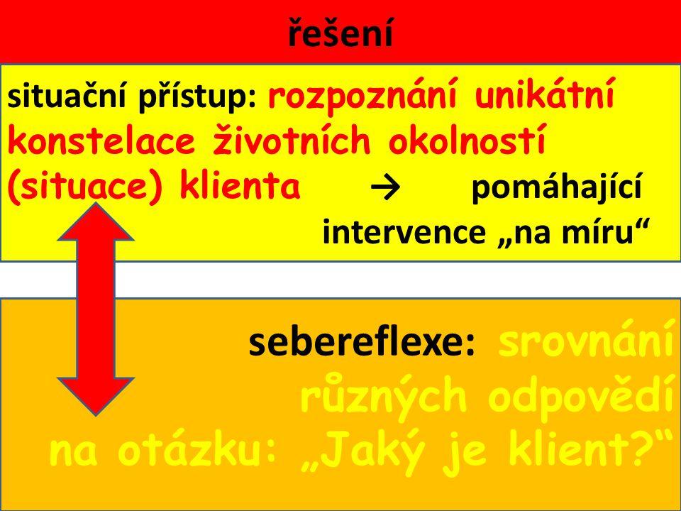 """řešení situační přístup: rozpoznání unikátní konstelace životních okolností (situace) klienta → pomáhající intervence """"na míru sebereflexe: srovnání různých odpovědí na otázku: """"Jaký je klient?"""