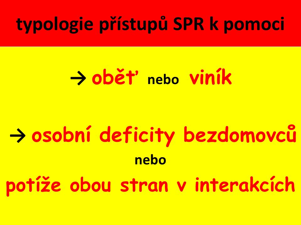 typologie přístupů SPR k pomoci → oběť nebo viník → osobní deficity bezdomovců nebo potíže obou stran v interakcích