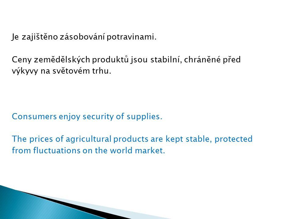 Je zajištěno zásobování potravinami. Ceny zemědělských produktů jsou stabilní, chráněné před výkyvy na světovém trhu. Consumers enjoy security of supp